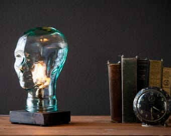 Unique Glass Head Edison Bulb Lamp   Steampunk Table Lamp   Vintage  Lighting   Farmhouse Rustic