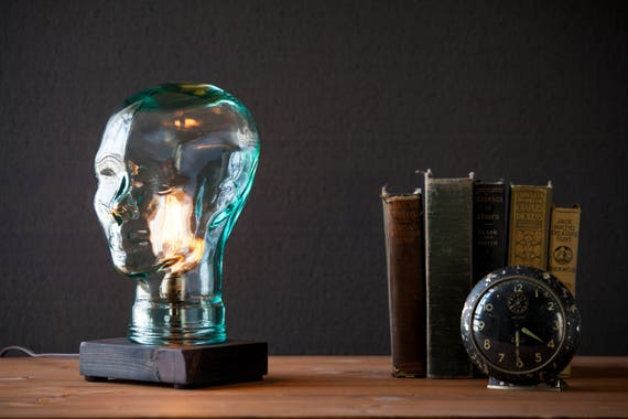 Unique Glass head Edison bulb Lamp - Steampunk table lamp - Vintage lighting - Farmhouse Rustic Lamp - Desk lamp - Bedside light