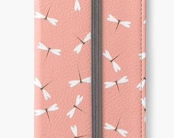 Folio Wallet Case for iPhone 8 Plus, iPhone 8, iPhone 7, iPhone 6 Plus, iPhone SE, iPhone 6, iPhone 5s - Pink Dragonflies Case
