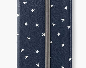 iPhone 7 case, iPhone 6s flip wallet case, iPhone SE wallet case, iPhone 6 plus case, iPhone 5s case - Navy blue and white star pattern case