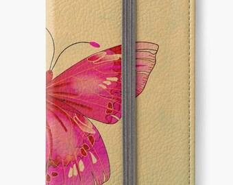 Folio Wallet Case for iPhone 8 Plus, iPhone 8, iPhone 7, iPhone 6 Plus, iPhone SE, iPhone 6, iPhone 5s - Hot Pink Butterfly Design Case