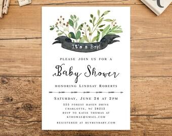 Green Woodland Baby Shower Invitation Download, Boy Baby Shower, Gender Neutral, Girl, Greenery Nature Woodland Baby Shower invite