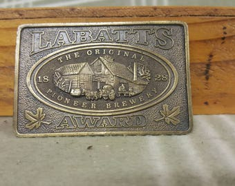 1976 Vintage Labatt's Award Beer Belt Buckle. Bottle Opener on Back. Bergamot.