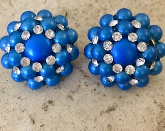 Vintage Gorgeous Blue Lucite with Clear Rhinestones Clip Back Earrings.