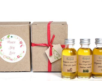 OLIVE OIL HOLIDAY favor, Organic Extra Virgin Olive oil Spanish, Garlic and Herbs infused, Olive Oil gift box, 1 oz., 30 ml, glass bottles
