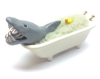 Shark in miniature bathtub