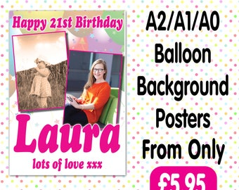 Personalised Photo Birthday Christening baptism Party Gloss Posters Any Age, Any Name, Any Event A009