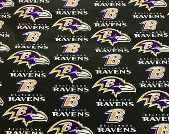 """BALTIMORE RAVENS nfl 60"""" Cotton Fabric By The Yard All Over Black Print Fabric Traditions"""
