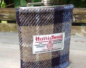 Harris tweed hip flask in Mackenzie tweed groomsmen best man Father's Day birthday gift wedding