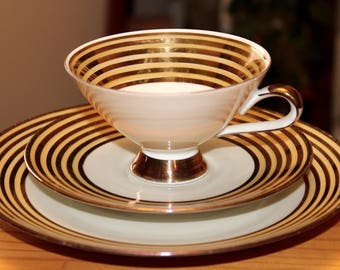 1950's Winterling Cup, Saucer and Side Plate ~ Pale Yellow, Gold and White ~ Made in Bavaria