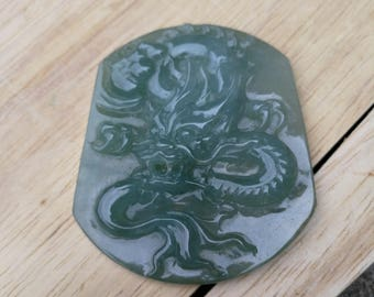 Jadeite pendant certified natural Grade A imperial icy ~ Dragon ~ imperial translucent