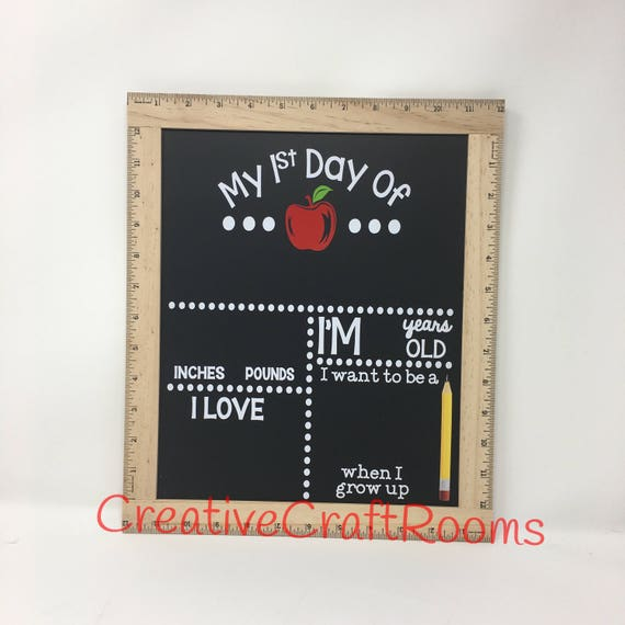 Reusable First Day of School Ruler Framed Chalkboard, Back To School Chalkboard, Back To School Blackboard, Ruler First Day Of School Sign