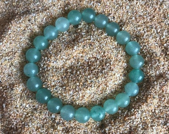 Green Aventurine Stretch Bracelet (with or without lotus charm)