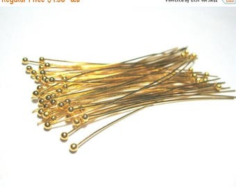 50% OFF Clearance Sale-- Gold Plated Copper Ball Head Pins 50mm 2in 24Ga Ball Pins (No.491)