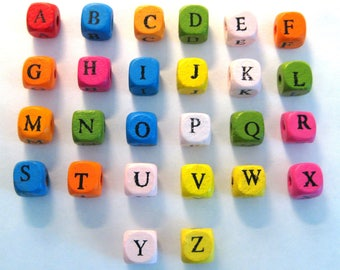 50pcs Mixed Color Alphabet Letter A-Z Cube Wood Spacer Beads Choose your letter