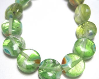 1 Strand Handmade Lamp work Glass Beads 10x5mm Flat Round( No.6)