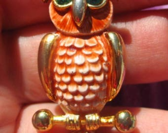 Vintage Collectible Sphinx of UK Guilloche Enamel Owl C. 1950s Gold-Tone Metal Swarovski Eyes Signed and NUmbered A-2234