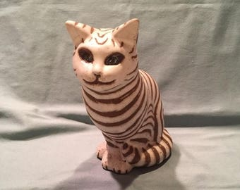 Andersen Design Studio Pottery Gray Tabby Cat Figurine. AD Boothbay Maine Pottery Statue. Modern Tiger Tabby Cat Animal Figurine Gift
