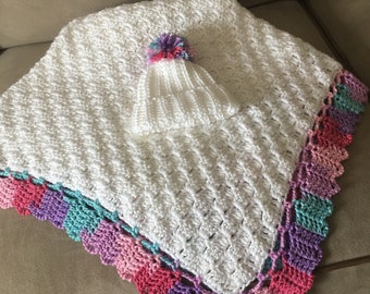 Baby Girl Blanket and  Hat...Ready to Ship!