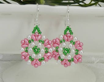 Woven Swarovski earrings,Woven Super Duo earrings,Swarovski Pearl earrings,Leverback,Clip on,Super Duo earrings
