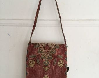 Canvas and Leather Shoulder Bag | Vintage Woman's Floral and Leather Pocketbook
