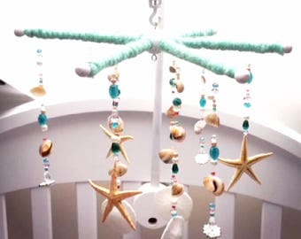 CUSTOM BABY MOBILE Listing Starfish Sanddollars Shells Sea Urchins Anchors Nautical Sparkly Pearls Beads Rhinestone Brooches Made To Order
