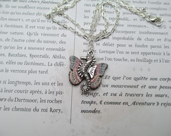 Silver seahorse necklace pink and blue butterfly