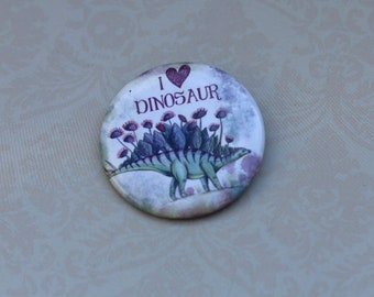 Stegosaurus dinosaur pin badge