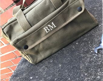 Personalized Groomsmen Military Style Mechanics Canvas Tool Bag Kit Ammo Bag Car Bag Emergency bag Groomsman Gift Gifts for Groomsmen guy