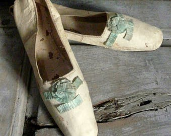 antique French regency leather shoes slippers