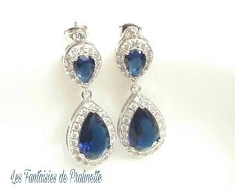 Boucles d'oreilles mariage strass et gouttes, bijoux mariage, boucles d'oreilles zircons cristal bleues clous d'oreilles rhodiées brillantes