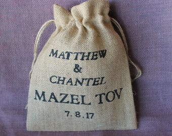 Rustic Burlap Smash Mazel Tov glass Pouch.  Personalized wedding grooms smash glass pouch bag.