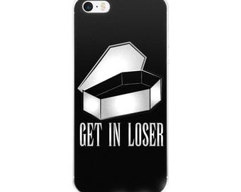 pastel goth, nu goth, iphone case, get In loser, gothic art, dark humor, tattoo coffin, lowbrow, punk, outsider, device cases, mean girls