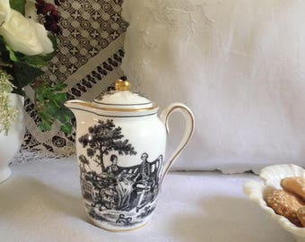 Black and white  Staffordshire small lidded pitcher.  New Chelsea Staffordshire Co. single serving tea or coffee or covered cream pitcher.