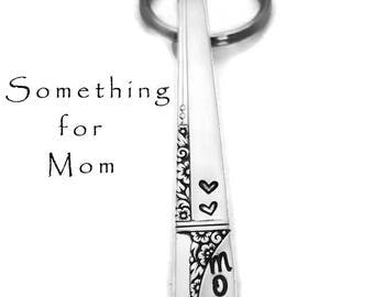 Stamped Silverware,  Mom Key Chain  Gifts For Her Vintage Floral Flatware Spoon Handle Keychain, Gifts Under 15,  Floral Silverware