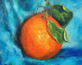 Orange original still life  oil painting, blue turquoise background