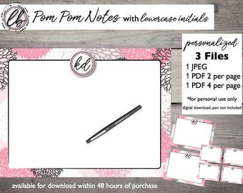 POM POM Note Cards [Personalized Digital Download]