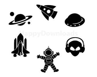 Astronaut Spaceman Rocket Planets Boys Silhouette Vector Decal Clipart Digital Download Cut File SVG EPS
