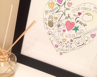 Personalised gift. 'Memory Heart' hand drawn and painted art. Unique, individual artwork.