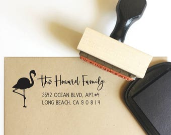 return address stamp - no. 38 - custom rubber stamp - hand illustrated flamingo - personalized - wedding - save the dates - stationery