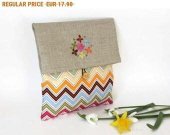 Summer Sale , Fabric Clutch Make Up Bag , Linen Foldover Clutch , Chevron Clutch , chevron Foldover Make up Bag , Rainbow Bridesmaid Gift