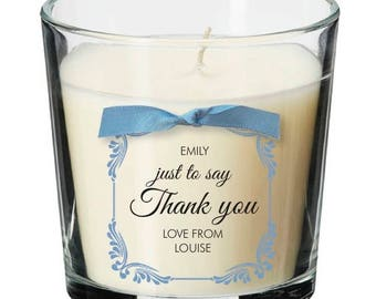 Thank you present personalised candle friend neighbour pet sitting gift 036