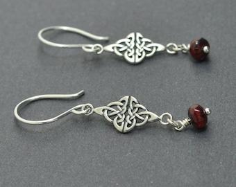 Sterling Silver Celtic Earrings, Garnet Earrings, Czech glass earrings, Red Earrings