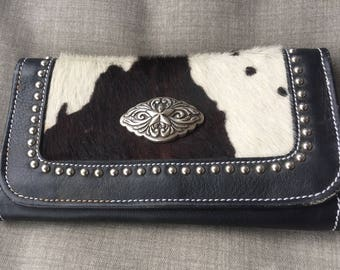 American West Equestrian Black White Cow Hide Hair Leather Clutch Wallet