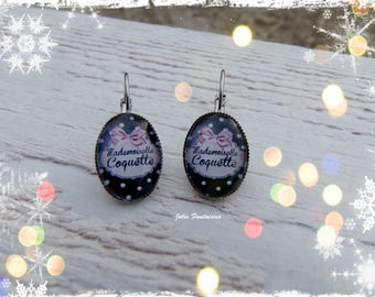 Mademoiselle coquette - oval cabochon pink and black earrings