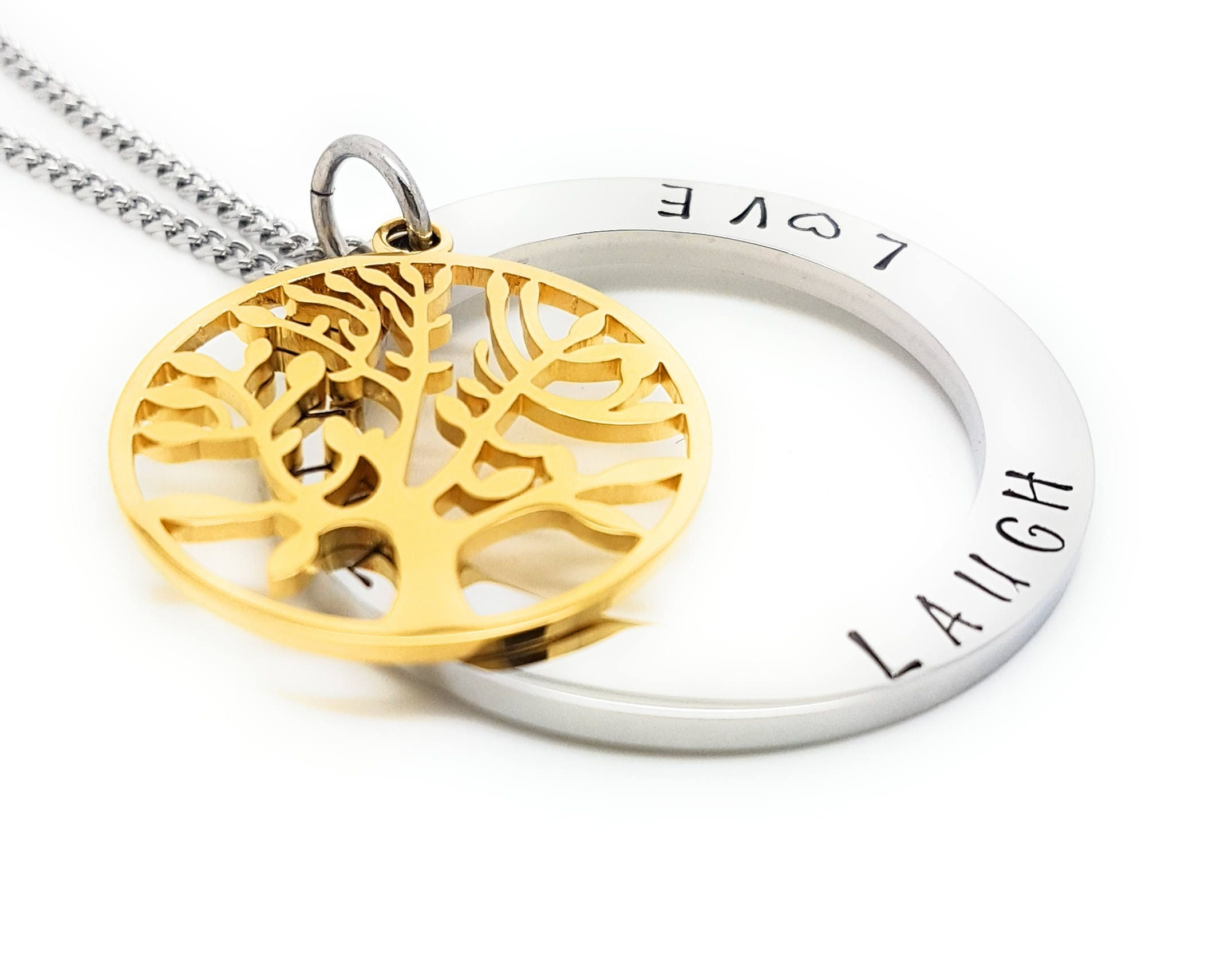 Coorabell crafts live laugh love pendant with silver circle and coorabell crafts live laugh love pendant with silver circle and gold tree of life charm includes stylish gift box buycottarizona