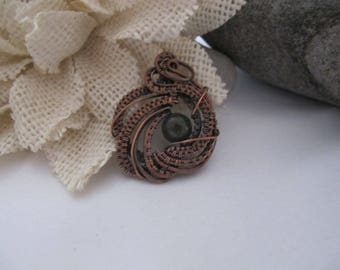 Handmade Copper Wire Wrapped Pendant with 8mm Jasper Stone, Necklace