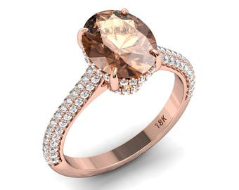 Morganite Engagement Ring 10x8mm Oval Peach Morganite  .45ct Natural Diamonds Hidden Halo Rose Gold Ring Pristine Custom Rings