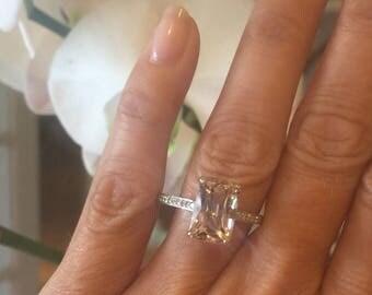 MORGANITE ENGAGEMENT RING 4.64ct Antique Modified Emerald Cut Peach Pink Morganite & .19ct Natural Diamonds 14k White Gold Anniversary Ring