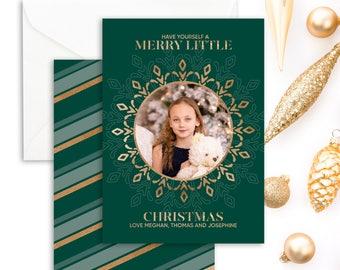 Christmas Photo Card - Holiday Photo Card - Emerald Green Christmas Photo Card - Family Christmas Card - Merry Little Christmas Card